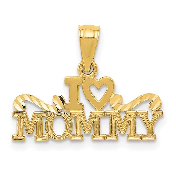 14k Yellow Gold I Heart Mommy Pendant