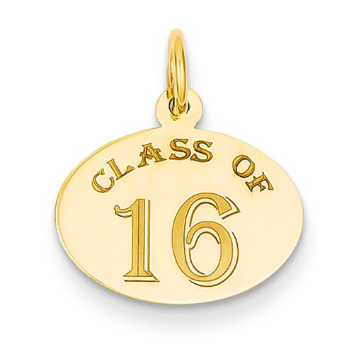 14kt Yellow Gold 5/8in Oval Class of 16 Charm