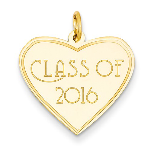 14kt Yellow Gold 3/4in Class of 2016 Heart Charm