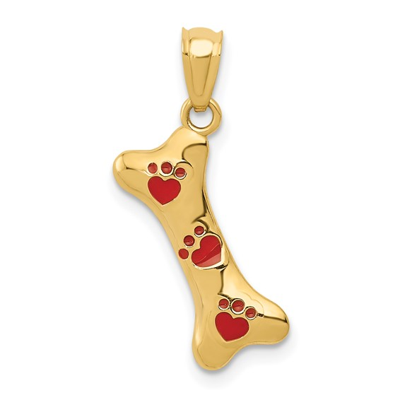 14kt Yellow Gold 5/8in Dog Bone with Red Enamel Paw Prints