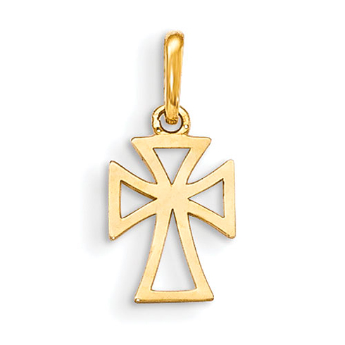 14kt Yellow Gold 3/8in Children's Cut-out Cross
