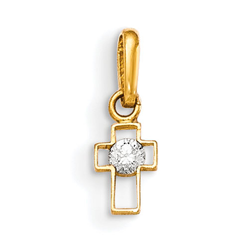 14kt Yellow Gold 1/4in CZ Children's Outline Cross Charm