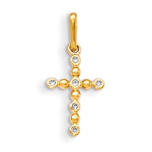 14kt Yellow Gold 3/8in CZ Children's Bead Cross Pendant