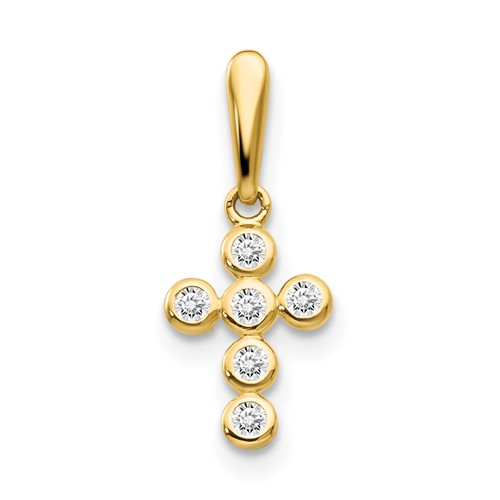 14kt Yellow Gold 3/8in CZ Children's Bezel Cross Pendant
