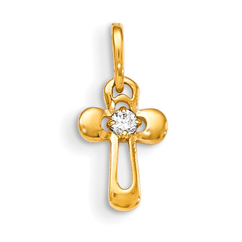 14kt Yellow Gold 1/2in Children's Cross Charm with CZ