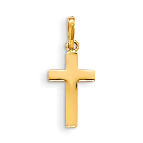 14kt Yellow Gold 5/8in Children's Smooth Cross Pendant