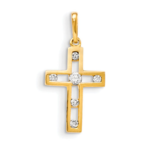 14kt Yellow Gold 5/8in Children's Cross with Six CZs