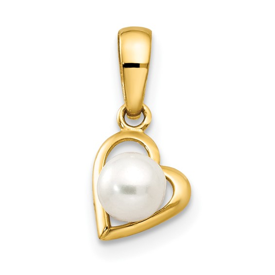 14kt Yellow Gold Freshwater Cultured Pearl Children's Heart Pendant