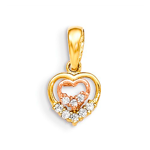 14kt Yellow and Rose Gold CZ Children's Inset Heart Pendant