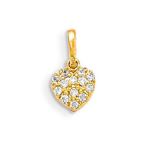 14kt Yellow Gold 1/4in CZ Children's Heart Pendant