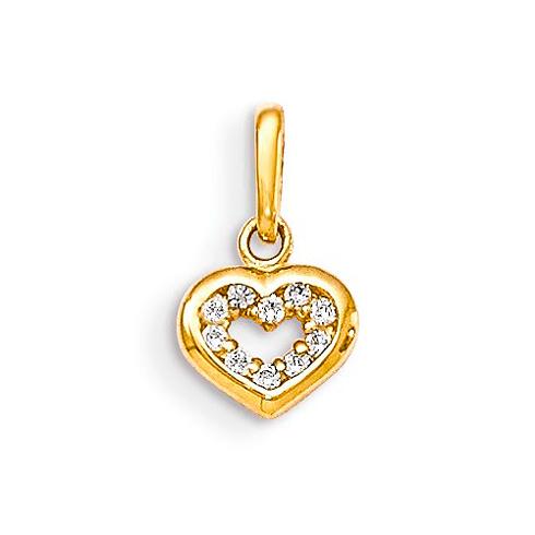 14kt Yellow Gold 3/16in CZ Children's Heart Pendant