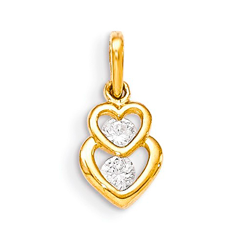 14kt Yellow Gold 3/8in CZ Duo Children's Heart Pendant