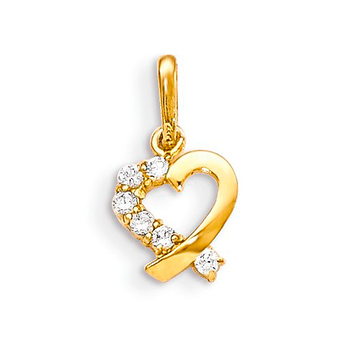 14kt Yellow Gold 1/4in CZ Children's Heart Charm