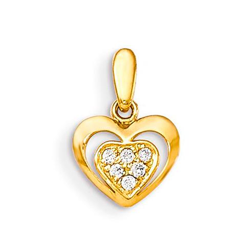 14kt Yellow Gold 1/4in CZ Children's Inset Heart Pendant