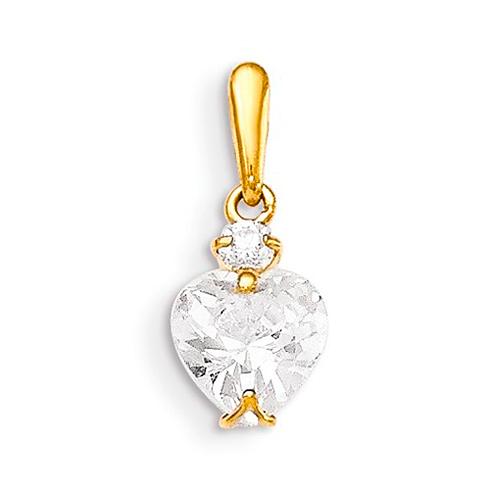 14kt Yellow Gold 3/8in Heart CZ Children's Pendant
