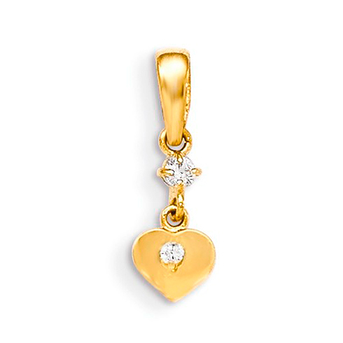 14kt Yellow Gold 3/8in CZ Children's Heart Dangle Pendant