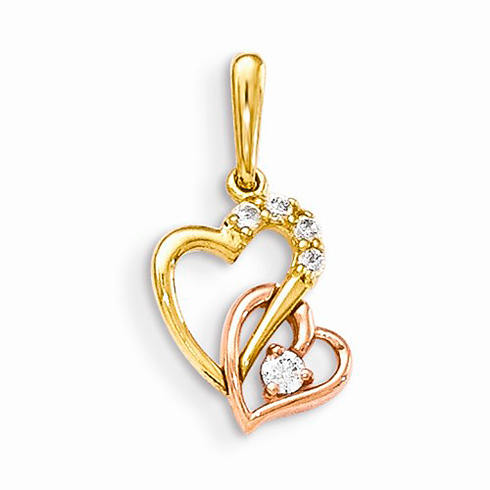 14kt Yellow and Rose Gold 1/2in CZ Children's Interlocking Hearts Pendant