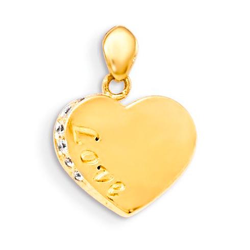 14kt Yellow Gold 3/8in CZ Children's Love Heart Pendant