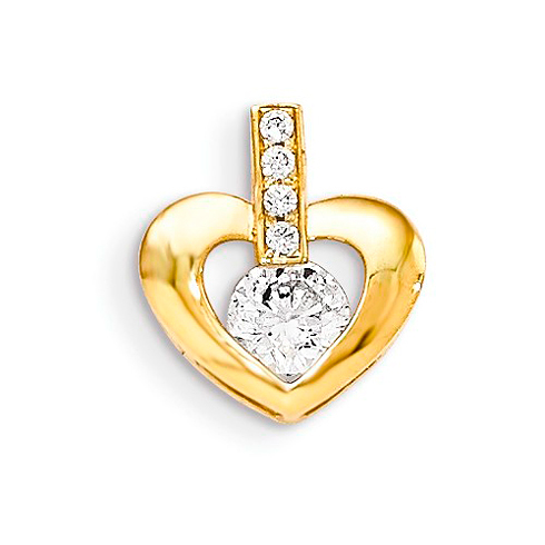14kt Yellow Gold 1/4in CZ Children's Nestled Heart Pendant