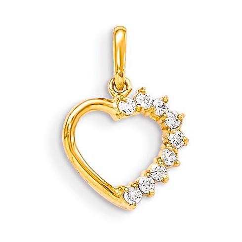 14kt Yellow Gold 3/8in CZ Accented Children's Heart Pendant