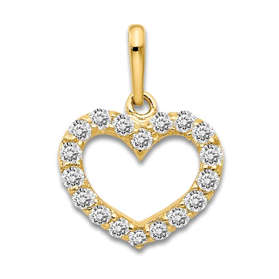 14kt Yellow Gold 3/8in CZ Encrusted Children's Heart Pendant