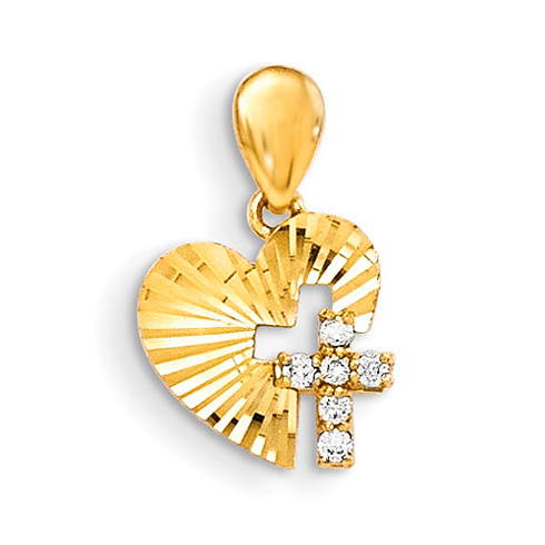 14kt Yellow Gold 3/8in CZ Diamond-cut Children's Heart Cross Pendant