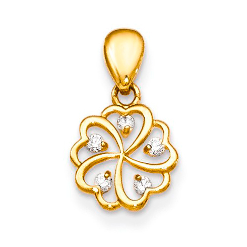 14kt Yellow Gold Children's Flower Pendant with Five CZs