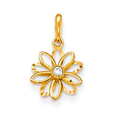 14kt Yellow Gold 3/8in CZ Diamond-cut Children's Flower Pendant