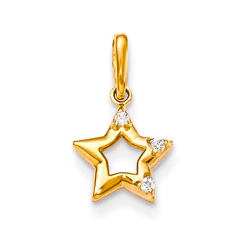 14kt Yellow Gold Children's Star Pendant with 3 CZs