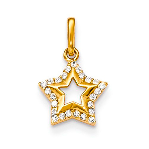 14kt Yellow Gold CZ Children's Star Pendant