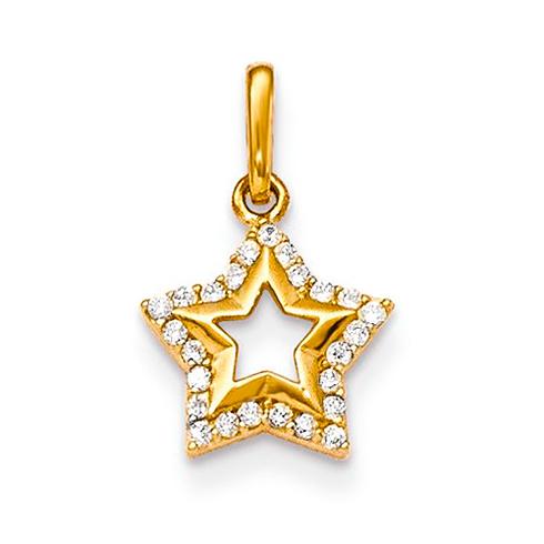 14kt Yellow Gold CZ Children's Star Pendant