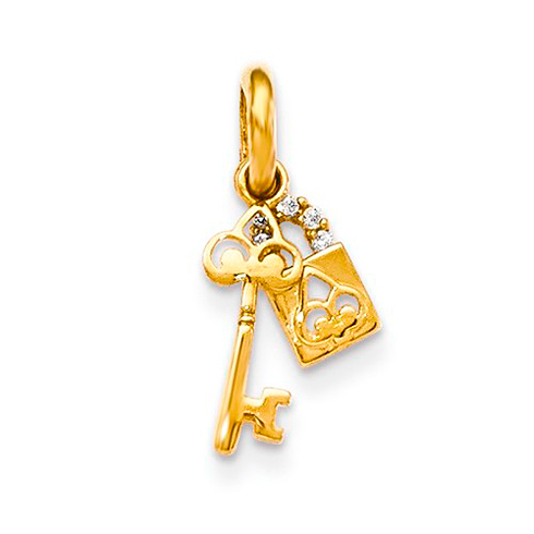 14kt Yellow Gold CZ Children's Lock and Key Dangle Pendant