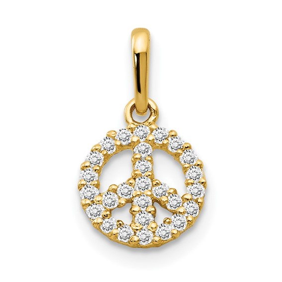 14kt Yellow Gold Encrusted CZ Children's Peace Sign Pendant