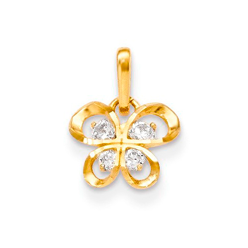 14kt Yellow Gold Children's Butterfly Pendant with Four CZs