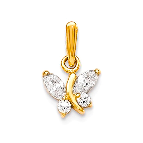 14kt Yellow Gold 1/4in CZ Children's Butterfly Pendant