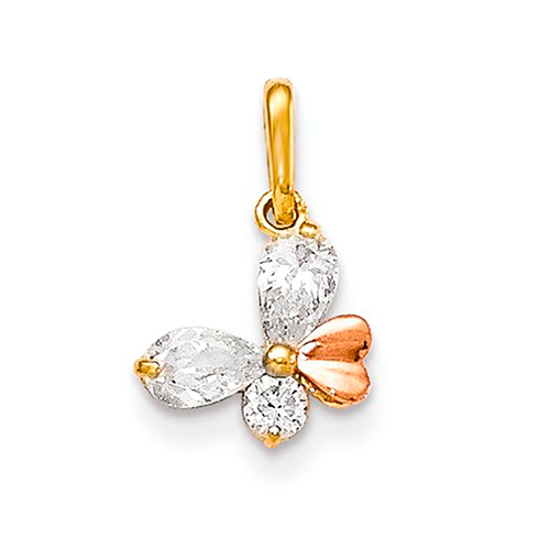 14kt Yellow and Rose Gold CZ Children's Butterfly Pendant