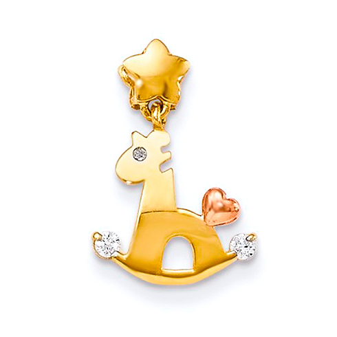 14kt Yellow and Rose Gold CZ Children's Rocking Horse Pendant