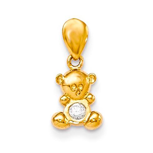 14kt Yellow Gold CZ Children's Teddy Bear Pendant