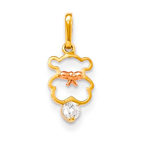 14kt Yellow and Rose Gold CZ Children's Teddy Bear Pendant
