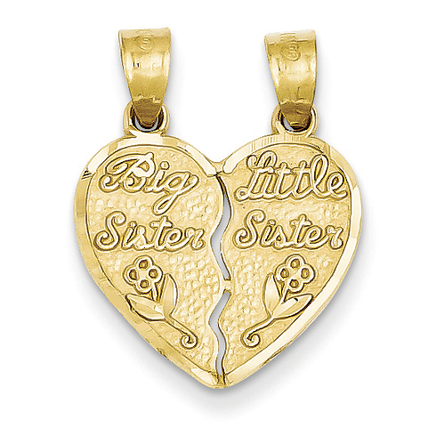 14kt Yellow Gold 2 piece Break Apart Big Sister and Little Sister Charm