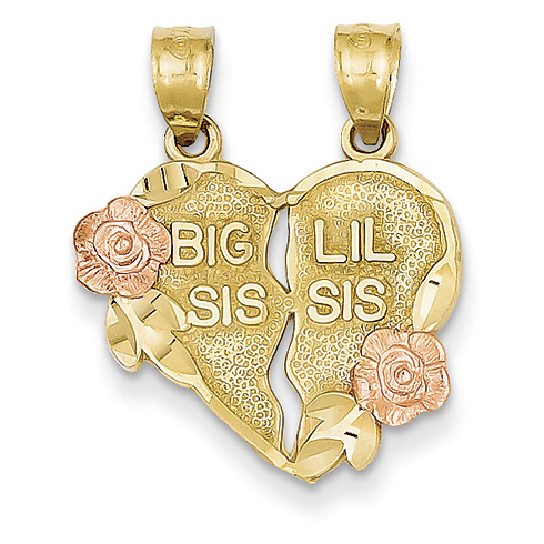 14kt Two-tone Gold Break Apart Big Sis and Little Sis Heart Charm