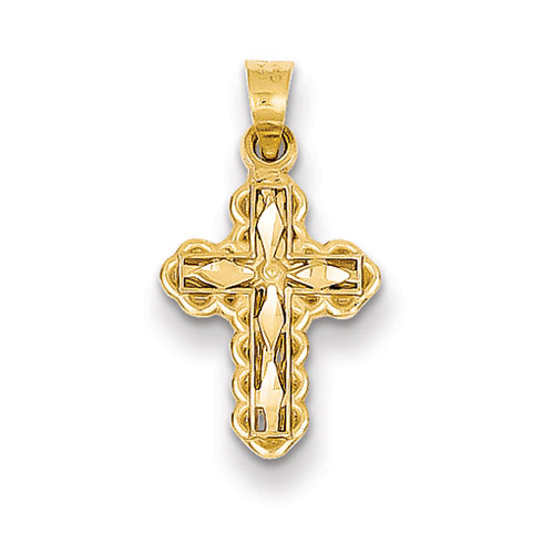 14kt Yellow Gold 1/2in Diamond-cut Cross Charm