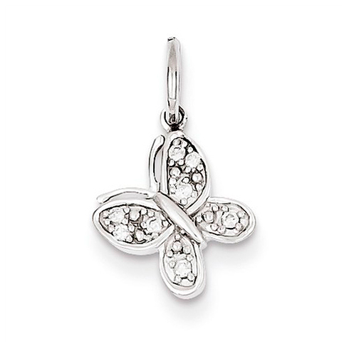 14kt White Gold 3/8in Diamond Butterfly Charm