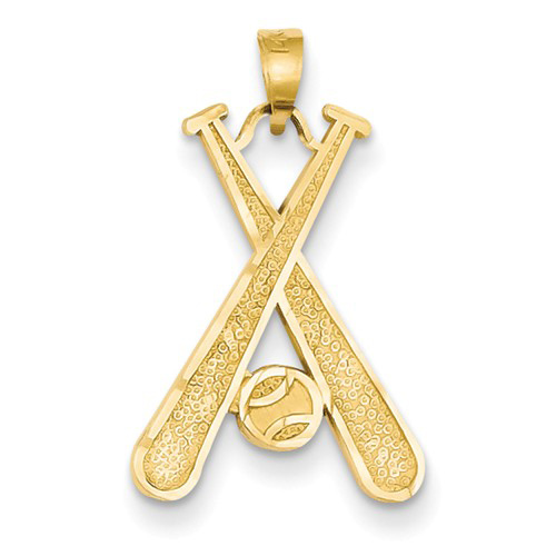 14kt Yellow Gold 3/4in Crossed Baseball Bats Pendant
