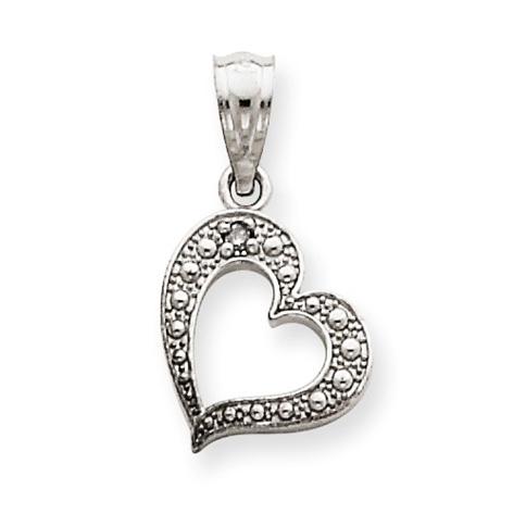 14kt White Gold .01 ct Diamond 3/8in Heart Charm