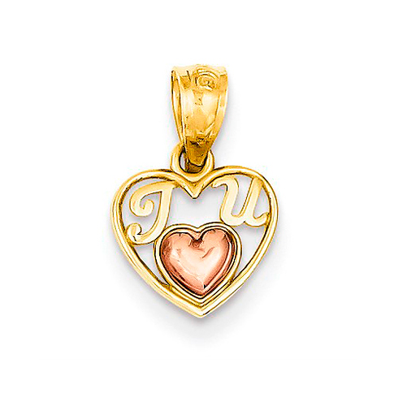 14kt Two-tone Gold 3/8in Mini I Love U Charm