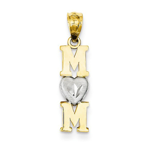 14kt Two-tone Gold 3/4in Vertical Mom Pendant