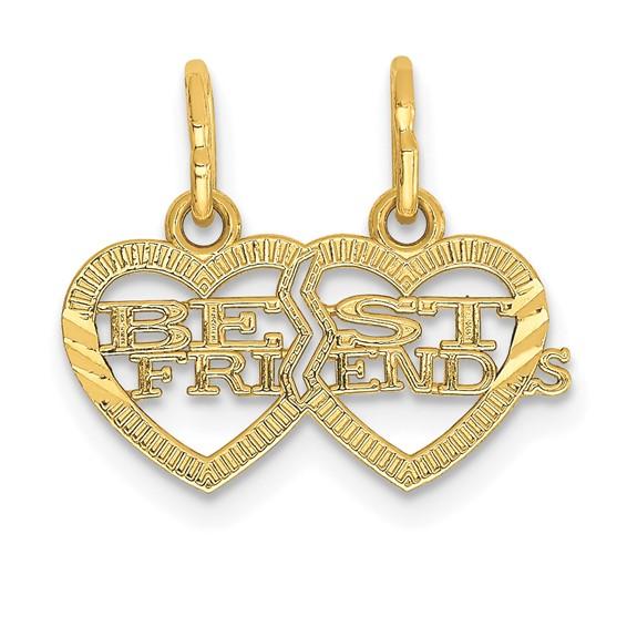 14kt Yellow Gold Best Friends Two Hearts Break Apart Pendant