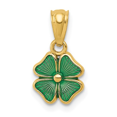 14kt Yellow Gold 3/8in Four Leaf Clover Charm