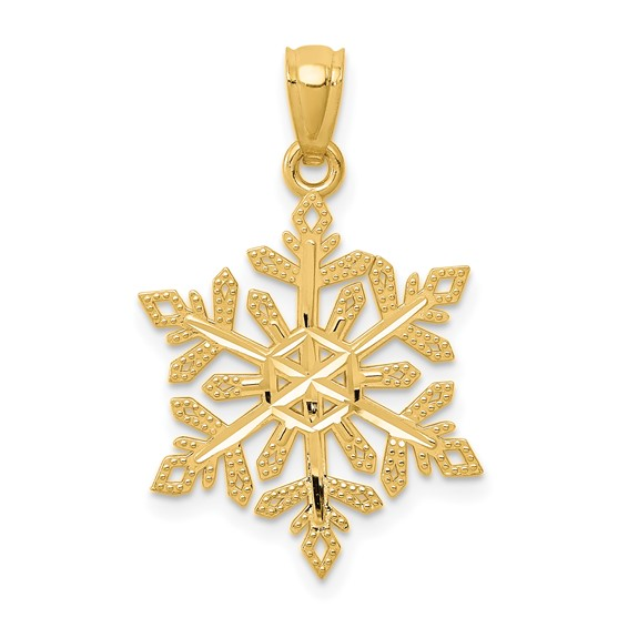 14kt Yellow Gold 3/4in Snowflake Pendant